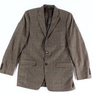 Lauren Mens Brown Plaid 100% Wool Sport Jacket